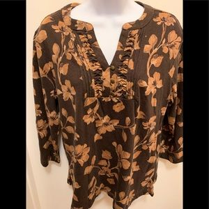 Croft & Barrow Long Sleeved Floral Design Top XL